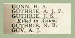 Memorial– Detail of Pte. John Stuart Guthrie's name as it appeared on the Merchants Bank of Canada 1914 - 1918 Roll of Honour.