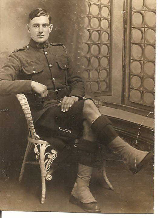 Photo of THOMAS HALL– Pte Thomas Hall as a member of the 92nd Battalion (48th Highlanders) before being sent in a reinforcement draft to the 15th Battalion (48th Highlanders) No. 3 Company.