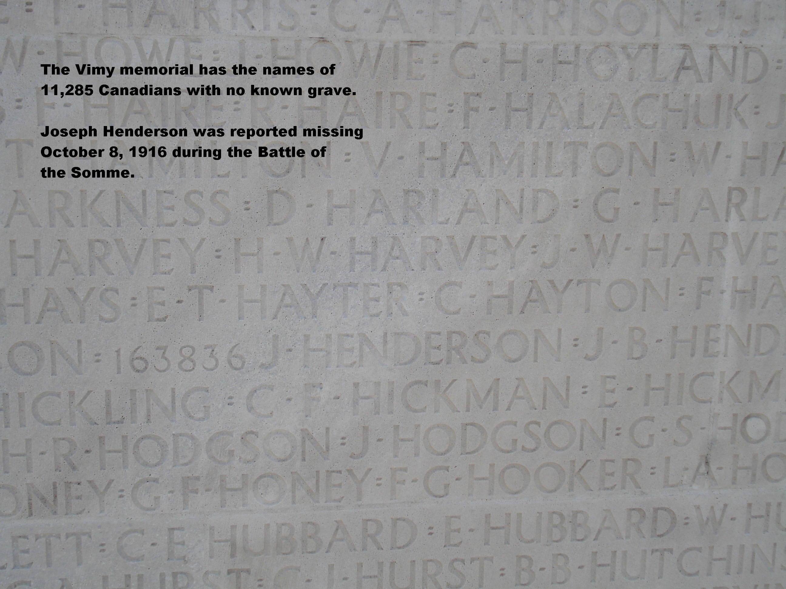 Inscription– Joseph Henderson's name on the Vimy War Memorial