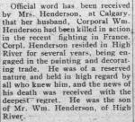 Newspaper clipping– HIGH RIVER TIMES DECEMBER 21 1916