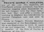 Newspaper clipping– THE CALGARY DAILY HERALD 19 OCTOBER 1916