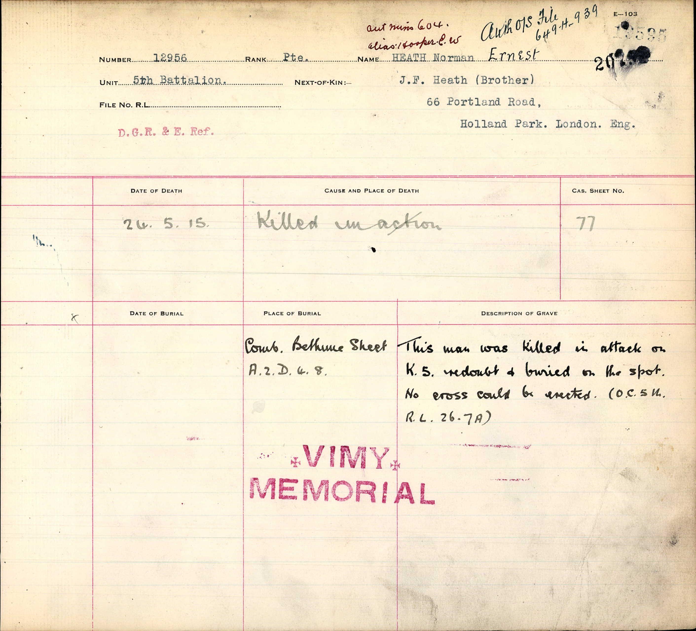 Commonwealth War Graves Registers, First World War
