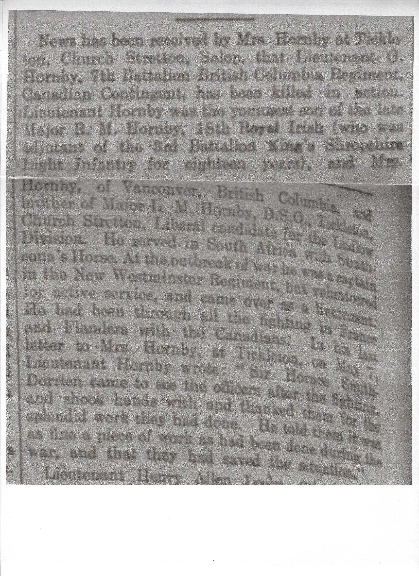 Newspaper Clipping– Newspaper clipping from Daily Telegraph of June 10, 1915. Image taken from web address of http://www.telegraph.co.uk/news/ww1-archive/11662981/Daily-Telegraph-June-10-1915.html