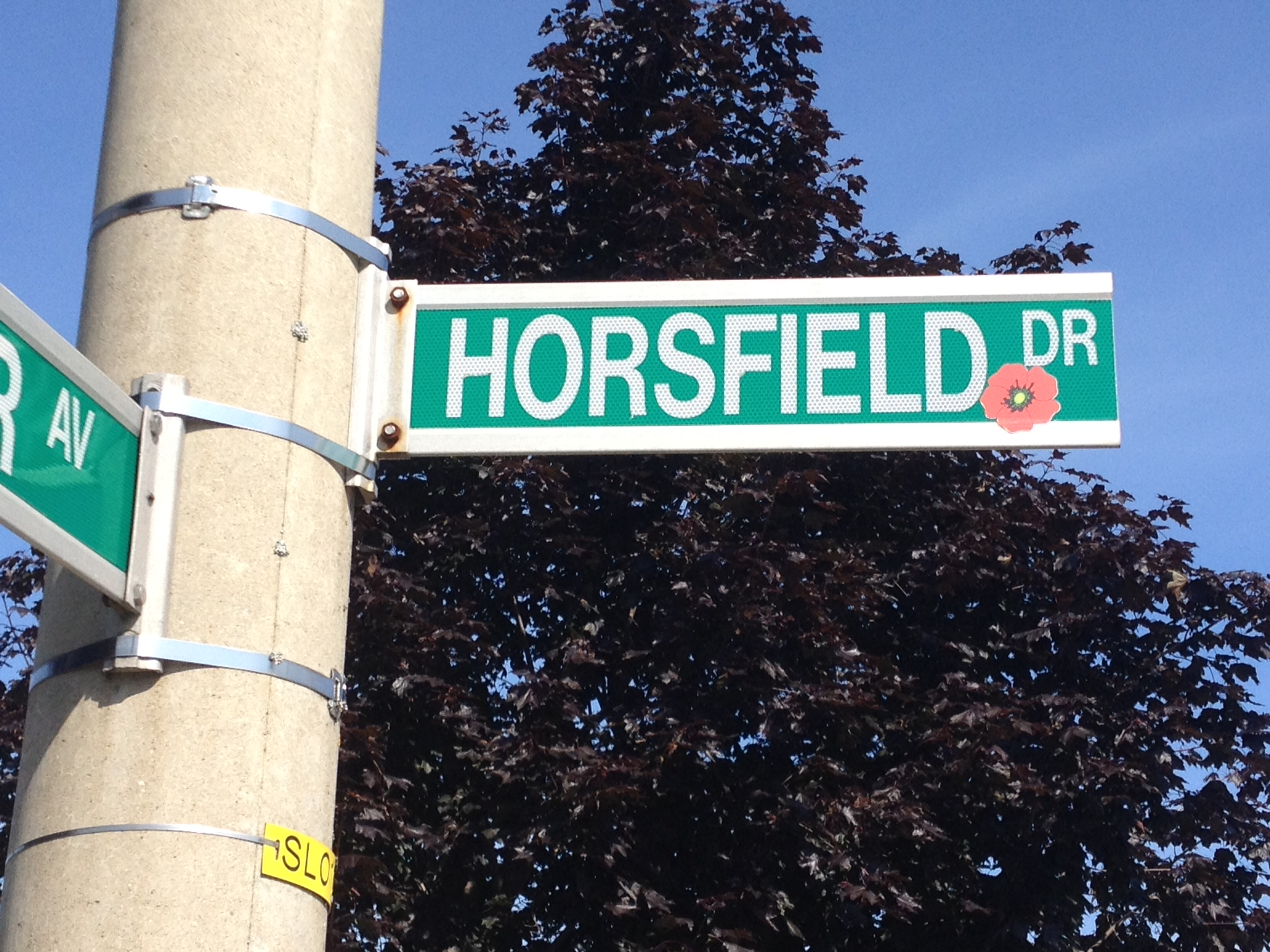 Street sign– Barrie street named in honour of Private Russel Newman Horsefield with a poppy.