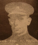 Photo of Charles Hoyland– In memory of the men and women from the Waterloo area who went to war and did not come home. From the booklet, Peace Souvenir – Activities of Waterloo County in the Great War 1914 – 1918. From the Toronto Public Library collection.  Submitted for the project, Operation: Picture Me.