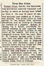 Newspaper Clipping– Pte. Benjamin Irons enlisted with the first Canadian Contingent at Valcartier Camp, Quebec, on September 22nd, 1914.  In honoured memory.