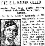 Newspaper Clipping– From the Toronto Star for 9 October 1917, page 11.