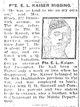 Newspaper Clipping– Former 48th Highlander.  Submitted by the 48th Highlanders Museum 73 Simcoe St. Toronto for the project, Operation: Picture Me.