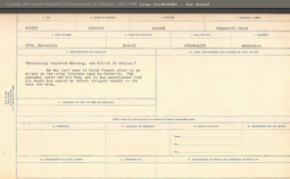 Circumstances of death registers– Screenshot of Canada, War Graves Registers (Circumstances of Casualty), 1914-1948 Record located on Ancestry.ca