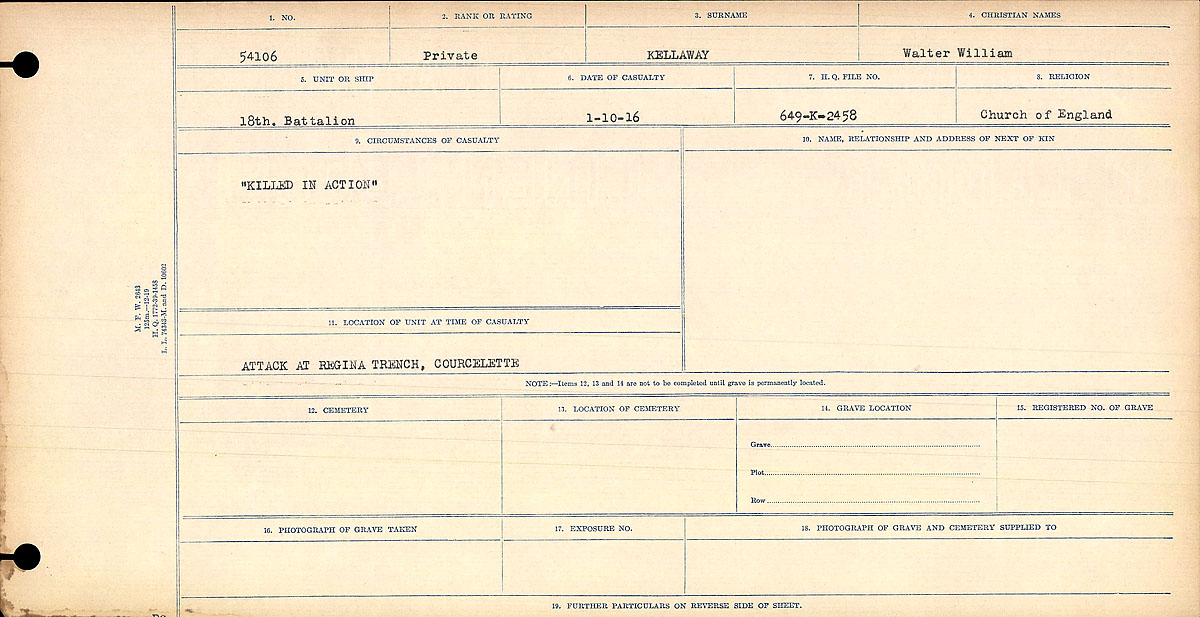 """Circumstances of Death Registers– """"Killed in Action"""" This soldier is also commemorated at NEWTON ABBOT WAR MEMORIAL 1914 - 1918. Contributed by E. Edwards, 18thbattalioncef.wordpress.com"""