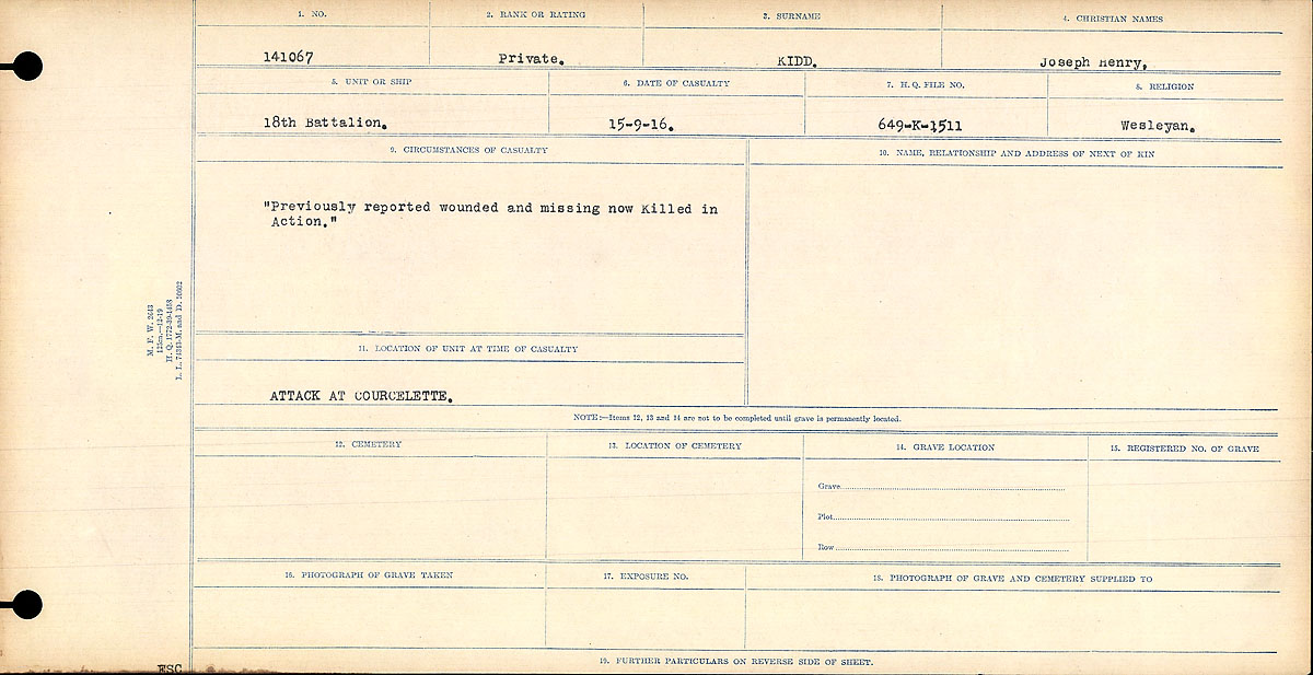 "Circumstances of Death Registers– Circumstances of Death Register: ""Previously reported wounded and missing and now Killed in Action."""