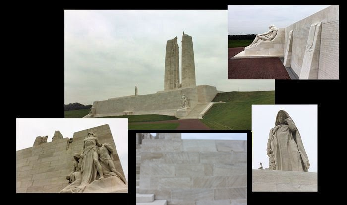 Collage– Canada's Vimy Memorial, located approximately 8 kilometres to the north-east of Arras, France. May the sacrifice of so many never be forgotten. (J. Stephens)
