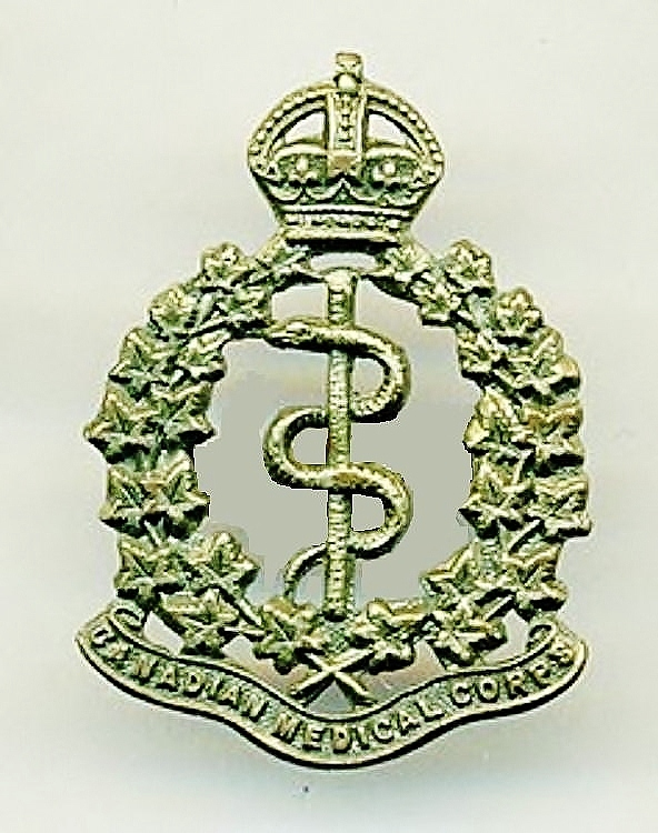 Badge– Cap badge Canadian Army Medical Corps.  Pte Leckie originally enlisted in the 92nd bn but was sent to the CAMC as a reinforcement.  Submitted by Capt (ret'd) V. Goldman,  15th Bn Memorial Project Team.  DILEAS GU BRATH