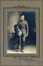 Photo of John Lee– Private John Lee. 18th Can. Batt. [Symbol of cross] Sept. 15, 1916. Somme front. The photographer, William H. Evans, operated the Evans Studio in London, Ont. from 1913 to 1925. http://images.ourontario.ca/kitchener/details.asp?r=vs&ID=45223&number=42