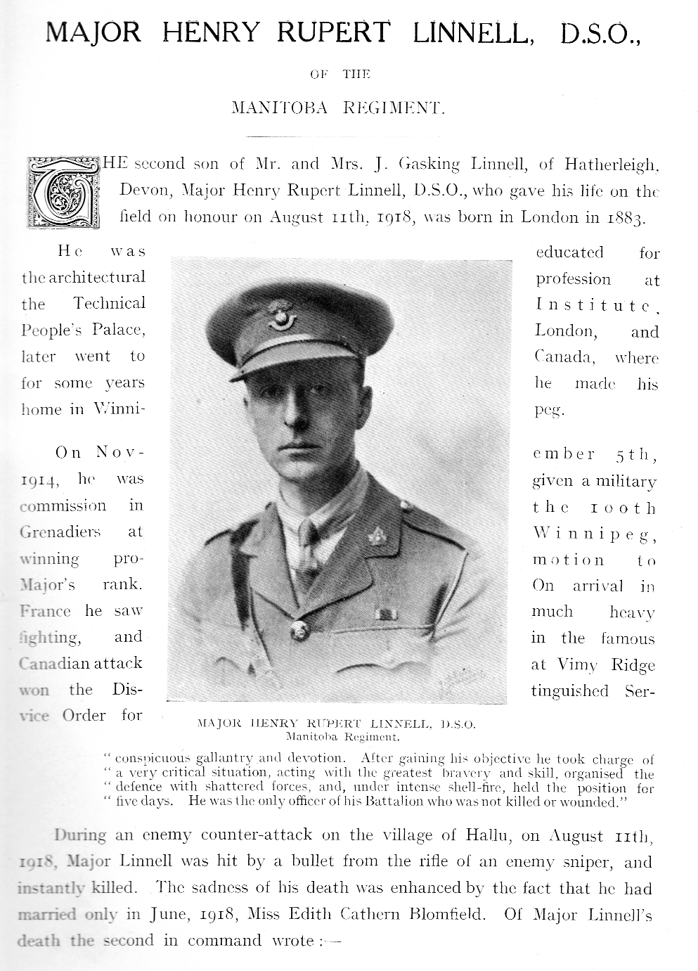 Literature– Pages from Roll of Honour publication and actual DSO