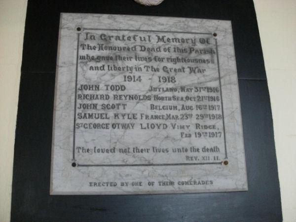 Close up of Memorial Plaque