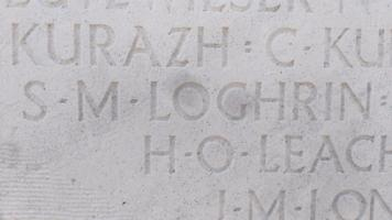 Inscription– Image of Sam Loghrin's name on the Vimy Memorial, from July 8, 2018.