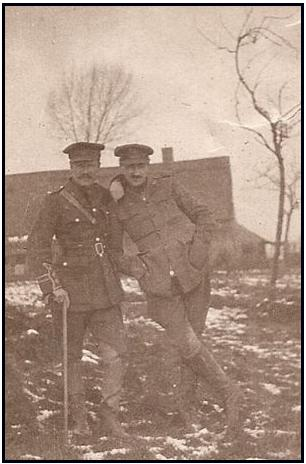 Group Photo– Captain Samuel Monteith Loghrin (left) and his half brother Corporal Donald Monteith Jeffery, reg. no. 408121 (right) served together in the 18th Battalion and were killed on the same day.  Via: http://www.loghrin.info/