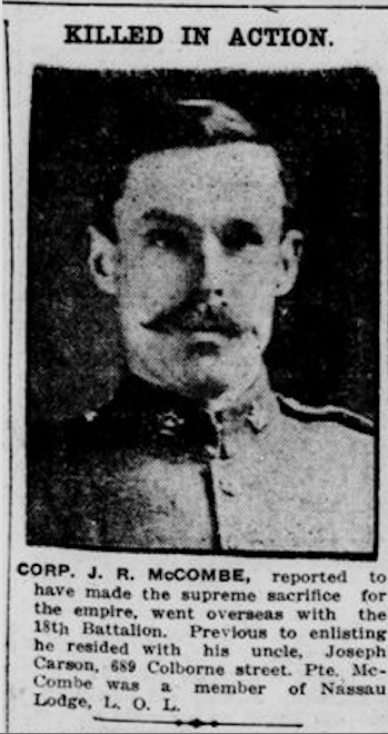 Newspaper Clipping– Source: Operation Picture Me via The 18th Battalion Facebook Group. London Free Press October 28, 1916.  Contributed by E.Edwards www.18thbattalioncef.wordpress.com