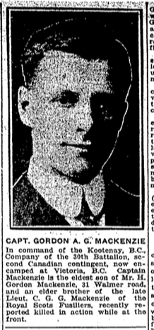 Photo of GORDON ALEXANDER GORDON MACKENZIE– From the Toronto Star. Submitted for the project Operation: Picture Me