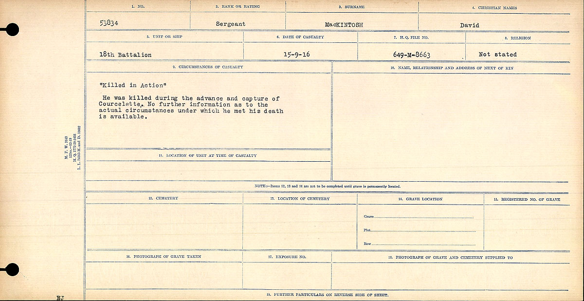 """Death Registry– Circumstances of Death Register: """"Killed in Action."""" He was killed during the advance on Courcelette. No further information as to the actual circumstances under which he met his death is available."""