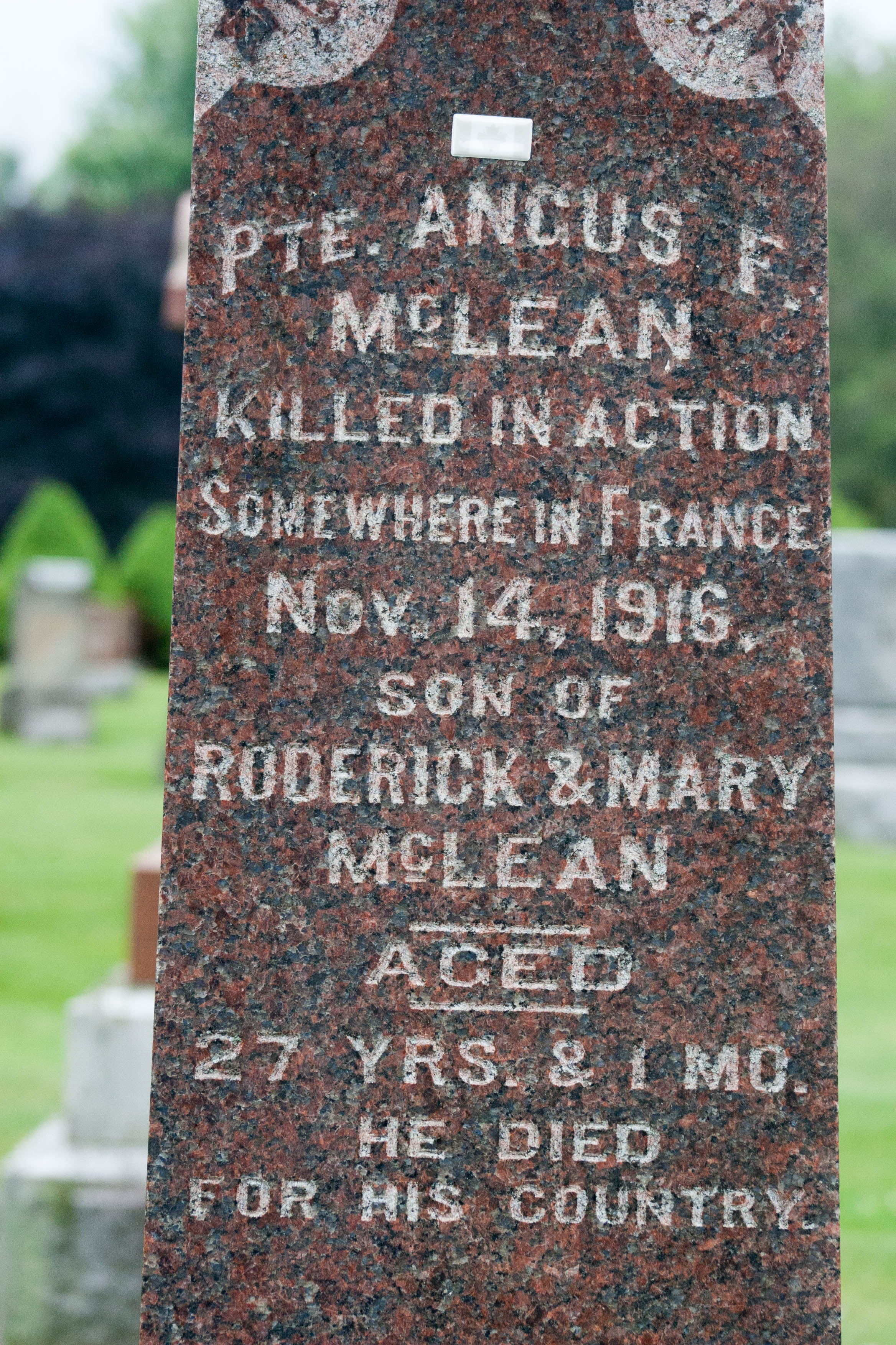 Memorial– photo of grave stone in the Nairn Ontario Cemetery commemorating Pte McLean