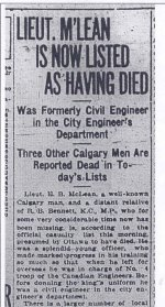 Newspaper Clipping– Short article regarding the life and times of Lt. McLean, Civil Engineer for the City of Calgary, Alberta.