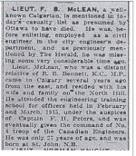 Newspaper Clipping– Short article regarding the life of Lt. Edward Byron McLean who was lost in action and is commemorated on the Vimy Ridge Memorial.