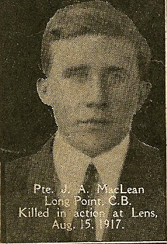 Photo of JOHN ALEXANDER MCLEAN– From the book, Catholics of the Diocese of Antigonish, Nova Scotia and the Great War 1914- 1919.  Submitted for the project, Operation: PIcture Me