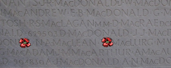 Inscription– Vimy Memorial - August 2012 … Photo courtesy of Marg Liessens