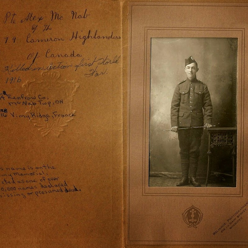 Memorabilia– Pte Alexander  James McNab