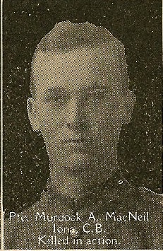 Photo of Murdock McNeil– From the book, Catholics of the Diocese of Antigonish, Nova Scotia and the Great War 1914- 1919.  Submitted for the project, Operation: Picture Me