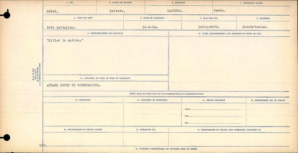 "Death Registry– Circumstances of Death Register: ""Killed in Action."""