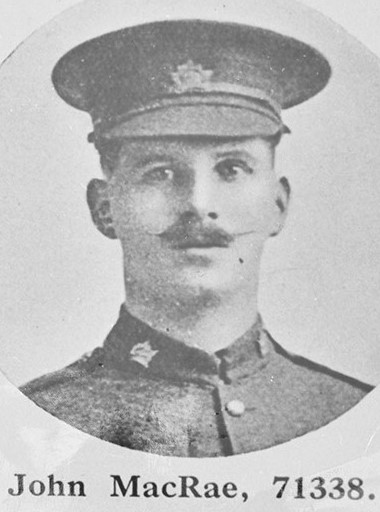 Photo of JOHN MACRAE– Photograph of CSM John MacRae, MM & bar, of the 27th (City of Winnipeg) Battalion, Canadian Expeditionary Force, who was killed in action on September 15, 1916.