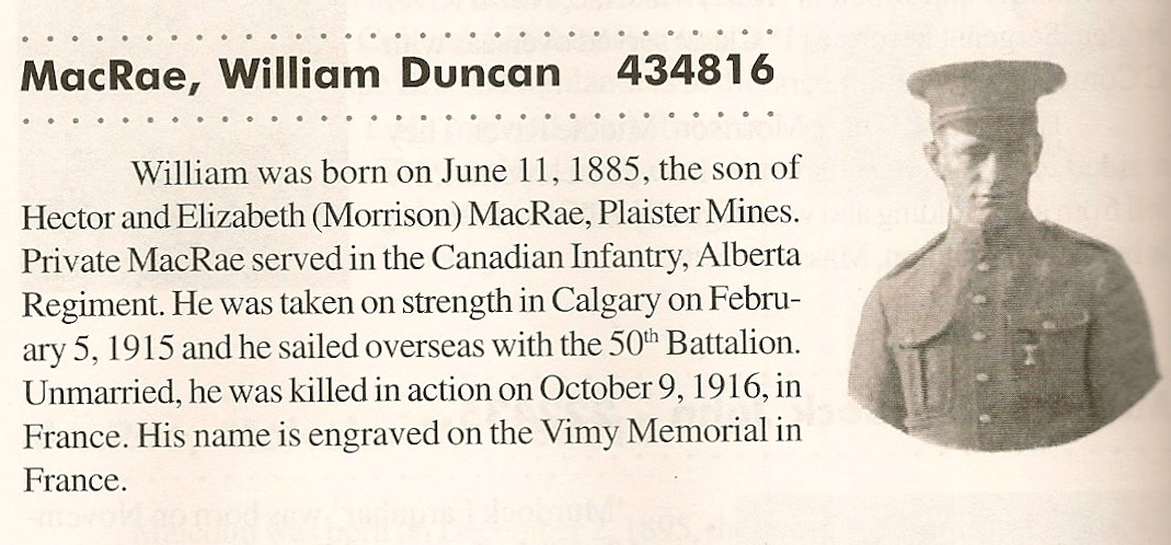 """Photo of WILLIAM DUNCAN MCRAE– Submitted with the permission of Bonnie Thornhill, from the book """"In the Morning Veterans of Victoria County, Cape Breton. Submitted for the project, Operation: Picture Me"""