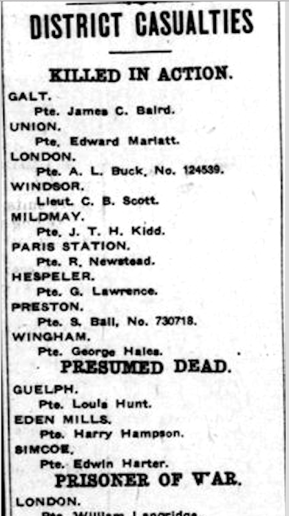 Newspaper clipping– From the London Free Press July 1917. Submitted for the project Operation Picture Me