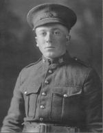 Photo of Edward Marlatt– 1916 Picture of Pte Edward Marlatt, Regimental No. 123724, taken during training with the 91st Battalion at St. Thomas, ON. Enlisted 9 September 1915 at St. Thomas, ON. Transferred to the 3rd Battalion 3 September 1916. Missing (died) in action 8 October 1916 during Battle of the Somme, France.