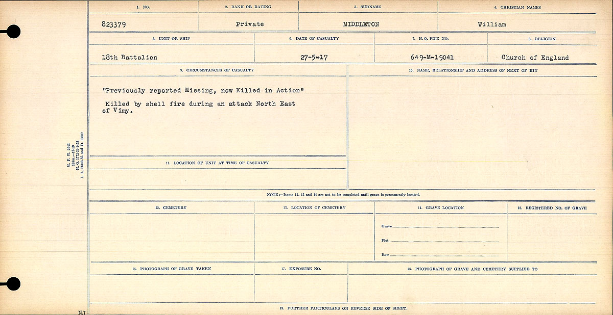 """Circumstances of Death Registers– """"Previously reported Missing, now Killed in Action"""" Killed by shell fire during an attack north east of Vimy. Contributed by E.Edwards www.18thbattalioncef.wordpress.com"""