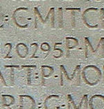 Inscription– His name as it is inscribed on the Vimy Memorial (2010). Over 11,000 fallen Canadians having no known place of burial in France, are honoured on this Memorial. May they never be forgotten. (J. Stephens)