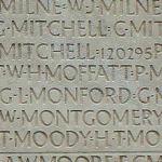 Inscription – Son nom tel qu'il est inscrit sur le monument commémoratif de Vimy (2010). Plus de 11,000 Canadiens décédés qui n'ont pas de lieu de sépulture connu en France, sont honorés sur ce mémorial. Puissent-ils ne jamais être oubliés. (J. Stephens)