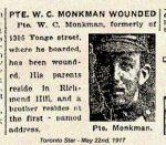 Newspaper clipping– Cousin W. (Willie) Monkman was wounded in action.