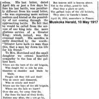 Newspaper clipping– Muskoka Herald 10-May-1917 3 of 3