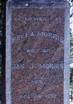 Inscription– Inscription on the side panel of the Morris family memorial with family information.