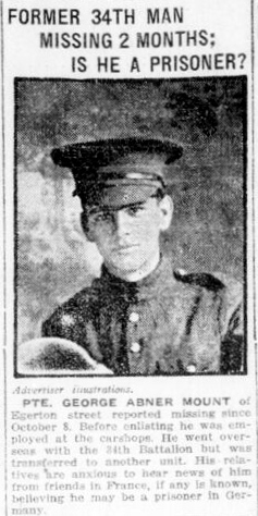 Newspaper clipping– In memory of the men and women of London, Ontario (and area) who went to war and did not come home. Remembered on the pages of the World War One issues of the London