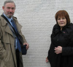Paying respects– MP Irene Mathyssen with husband Keith, finds the name of her great uncle on the memorial wall.