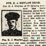 Press Clipping– Pte. Edward Joseph Moylan enlisted in Toronto, Ontario, on September 4th, 1915, with the 83rd Battalion C.E.F.