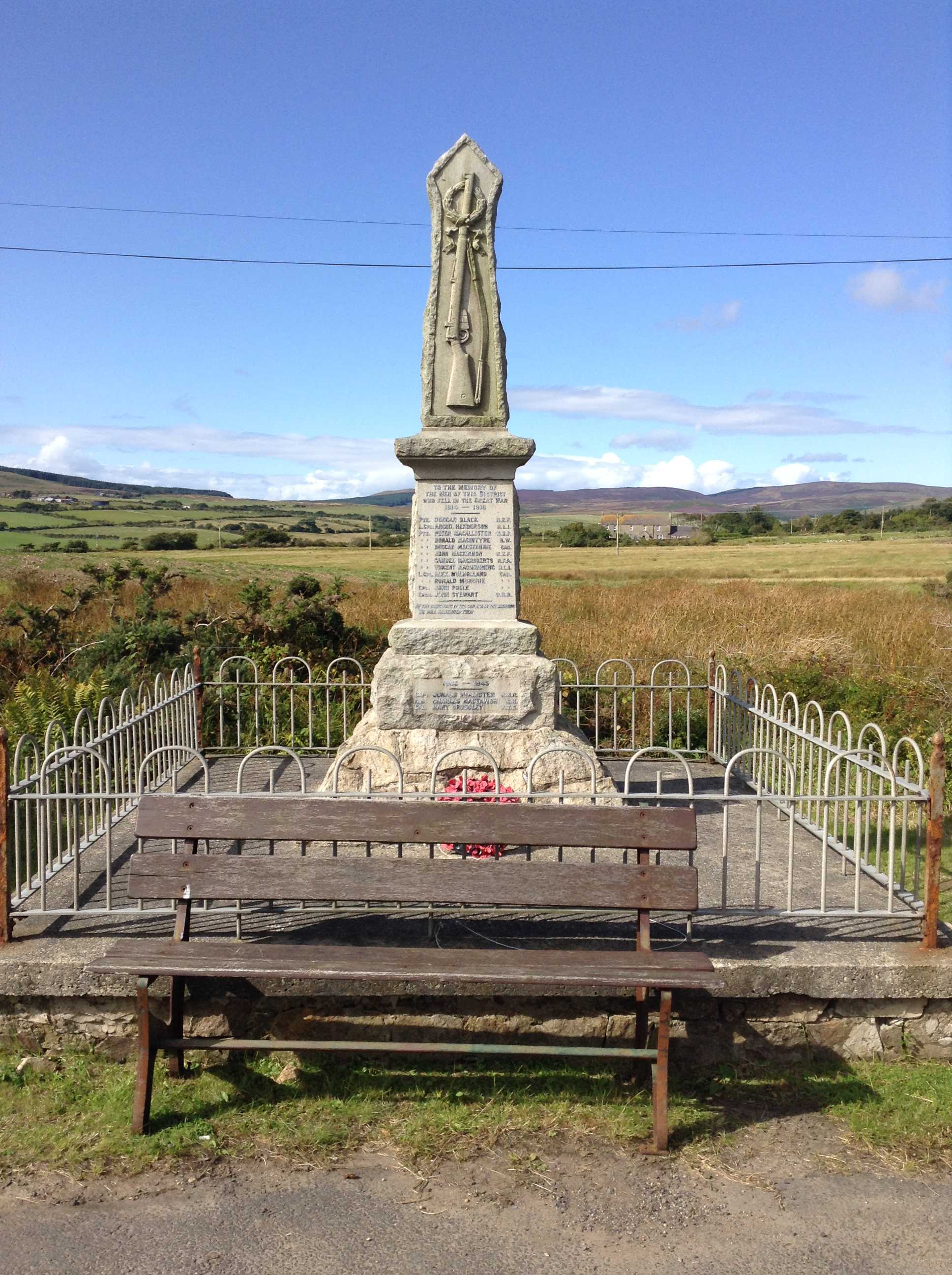 Memorial– War Memorial at the Ross Road intersection, between Sliddery and Lagg, Isle or Arran, Scotland.