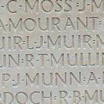 Inscription – Son nom tel qu'il est inscrit sur le monument commémoratif de Vimy (2010). Plus de 11,000 Canadiens déchus qui n'ont pas de lieu de sépulture connue en France, sont honorés sur ce mémorial. Puissent-ils ne jamais être oubliée. (J. Stephens)