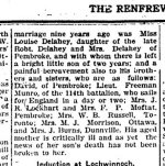 Newspaper Clipping (2 of 2)– Second part of a clipping from the Renfrew Mercury for 27 October 1916.