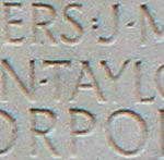 Inscription– His name as it is inscribed on the Vimy Memorial (2010 post restoration). Over 11,000 fallen Canadians having no known place of burial in France, are honoured on this Memorial. May they never be forgotten. (J. Stephens)